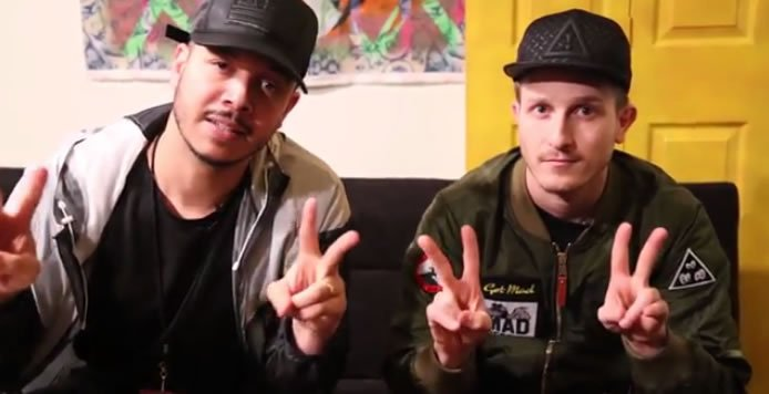 Flosstradamus poses following an exclusive interview at the Buku Music & Art Project in New Orleans, Louisiana.